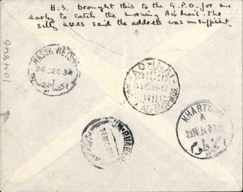 (Scarce and Unusual Routing) Czechoslovakia to Sudan, BRATISLAVA TO UM RUABA VIA KHARTOUM AND HASSA HEISA. Sent by train to Athens because there were no winter air services, arriving Athens Airport 15/12 cds. Missed the AS198 which had departed Athens on 14/121934, so caught AS199 which departed 22/12 arriving Khartoum 23/12 cds and sent on by train to Hassa Heissa, its original destination, where it arrived next day bs 24/12. There it was re-addressed and sent  c400 miles by train to Um Ruaba where an **Dec 34  arrival ds was applied. Plain airmail etiquette cover, ms 'Flugpost', violet framed 'Lotecka posta' hs RATED 5k50. The ordinary surface postage was 2.50K for first 20 gr. and Proud gives an air mail rate to Sudan of 2.50K per 10 gr. So it may be 50c overpaid. A scarce journey with superb routing.