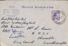 (Sudan) First 'All Up' north bound airmail from Khartoum to Southampton, attractive blue/grey Sudan Railways