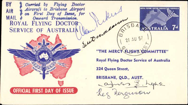 (Australia) F/F Royal Flying Doctor Service, attractive red/cream/blue souvenir cover franked 2/6d, POA Cloncurry, signed by the pilot E. Donaldson and other IP's.