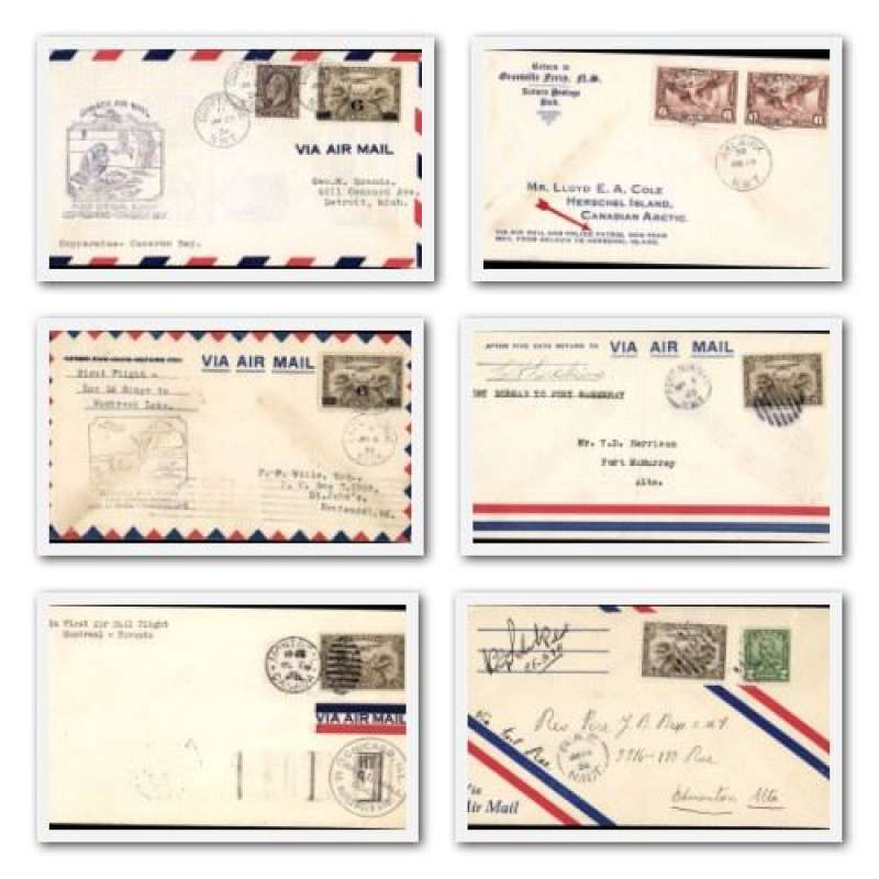(Collections) Canada, nice collection of 12 first and special flight covers, 1928-38 including 1928 Montreal-Toronto, 1938 Aklavik-Herschel Is via airmail and police patrol dog-team, 1930 Rae-Edmonton and 1937 Grand Prairie to Dawson Creek both signed by pilot. See website for scans of all items in this lot.