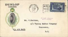 (Canada) Montreal-Vancouver, an official flight scheduled to be flown by Edward Dobbin. Dunlop Canada corner cover correctly rated 12c, type 'Via Airmail'.Flght cancelled because Dobbin unable to obtain insurance, so cover sent to Dead Letter Office, bs 19/7 verso. Cover returned to sender with purple two line 'Air Flight Abandoned/Letter Returned' hs on front. See AMC&NFLD, p94