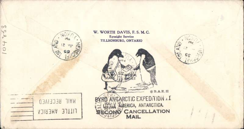 (United States) Little America, Antarctic to Herschel Island, Yukon Territory, 21/6/35 arriva cds on front, via San Francisco 25/3/35, attractive cover franked 6x3c US Byrd Antarctic Expedition II stamps and Canada 6c Ottawa Conference opt, bears green six line flight cachet, verso black official 'Byrd Antarctic Expedition II' cachet.
