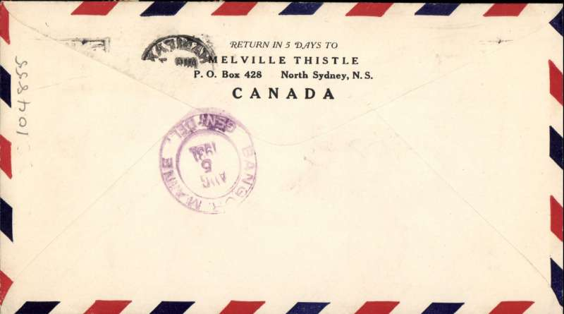 (Canada) F/F Halifax to Bangor, bs 5/8, airmaikl cover franked 6c.