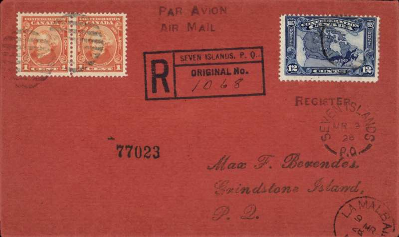 (Canada) F/F Seven Islands to La Malbae, 9/3 arrival ds on front, registered(hs) cover franked 14c, verso twelve date stamps inc Halifax, Portland, Grindstone and Moncton. See scan.