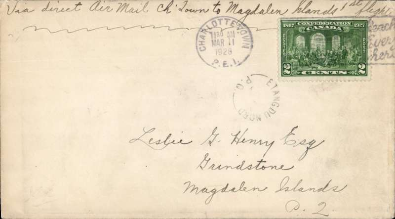 (Canada) F/F Charlottetown to Grindstone Island (Magdelen Islands) ,bs 11/3, plain cover franked 2c, ms 'Via Direct Air Mail Ch'town to Magdelen Islands 1st flight. Ref 2807d AMC&NFD, cat $100.00. Francis Field authentication hs verso.
