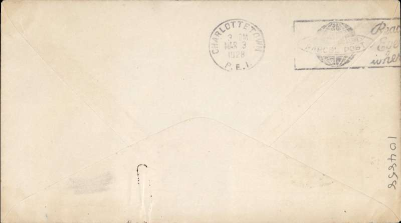 (Canada) F/F Sackville to Charlottetown, bs 3/3 , plain cover franked 2c, ms 'Via Aeroplane Middle Sackville to Charlottetown'. Ref 2807b AMC&NFD, cat $75.00.