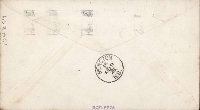 (Canada) F/F Charlottetown to Moncton, bs 19/2, plain cover franked 2c, ms 'Aeroplane Ch'Town to Moncton', Ref 2807a AMC&NFD, cat $100.00. Francis Field authentication hs verso.