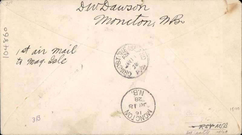 (Canada) F/F Moncton to Grindstone Island, bs 11/1, 2c PSE, 'Not Calld For' hs, so returned to Moncton 18/1.