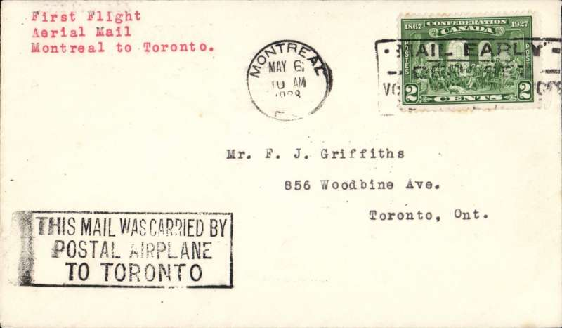 (Canada) First flight Montreal to Toronto, franked 2c, black framed three line  'This mail was Carried By/Postal Aeroplane'.  Francis Field authentication hs verso.