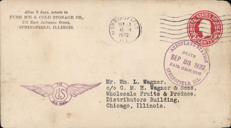 (United States Internal) US Governmental Experimental  flight, Springfield, Ill. to Chicago, AAMC #155, 2c PSC canc Springfield cds, and fine strike 'Aeroplane Station/State Fair Grounds/Springfield, Ill.' cachet, also winged US airmail hs.