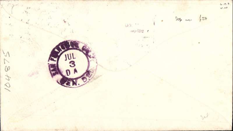 (United States Internal) US Governmental Flight, F/F Transcontnental Air Mail Route, New York-San Francisco bs 3/7, AAMC #167n, plain cover franked 24c C6, violet four line framed  F/F cachet.