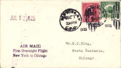 (United States Internal) New York to Chicago, bs 2/7, overnight test flight, AAMC #174, franked 10c at New York, purple three line cachet 'Air Mail/First Overnight Flight/New York to Chicago'