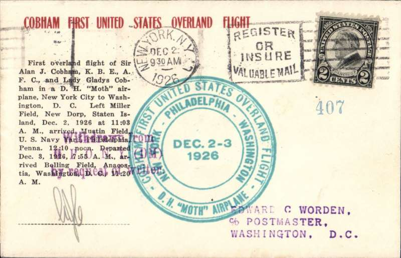 (United States Internal) Cobham First United States Overland Flight in DH Moth, green circular cachet, printed souvenir cover franked 2c, Milburn, New York Dec 2nd, and with additional 2c verso, bs Washington Dec 3rd, initialled by Sir Alan J Cobham pilot.