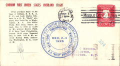 (United States Internal) Cobham First United States Overland Flight, Philadelphia cover, blue circular cachet,b/s Washington 3/12, official cover, initialled by Sir Alan Cobham pilot