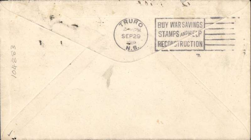 (Canada) Pioneer Airmail Charlottown to Truro Exhibition flight, bs 29/9, WS Louson corner cover franked 3c, fine departure and arrival date stamps, ms 'By Ariel Post/First Trip to NS'. Only 30 flown. A lovely item in fine condition.