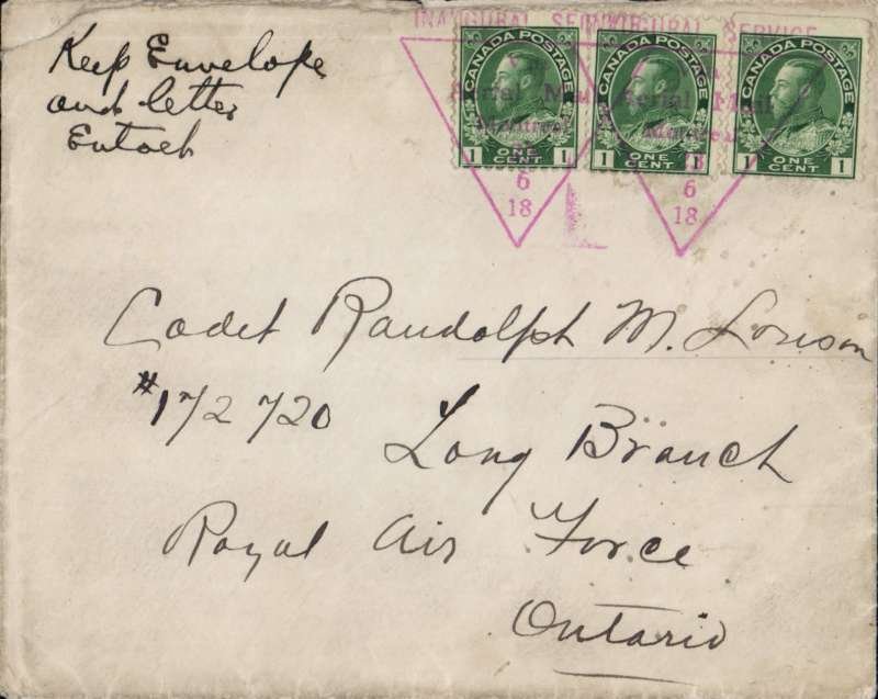 (Canada) The First Officially Authorised Air Mail Flight In Canada, Montreal to Toronto, bs 24/6, plain cover franked 3 x1c each tied with red triangular 'Inaugural Service/ Via Air Mail/23/6/18' official flight cachet.. AMC&NF #PF6. Non invasive closed flap rear verso, does not detract.