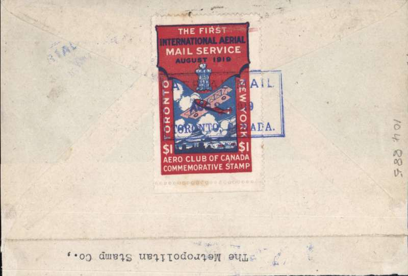 (Canada) Pioneer Airmail,Toronto to New York - Aero Club of Canada Flight,cover franked 3c canc fine strike 'Toronto/Aug 25/Ont' cds, verso special rectangular $1 red/white/blue commemorative vignette tied by blue rectangular 'Aerial Mail/Toronto, Canada' postmark, C&NF AMC #PF18 cat $250.00. The bottom address half of the cover front has been neatly removed leaving just a franked and cancelled upper half with a typed 'Via Air Post' instruction. See scan.