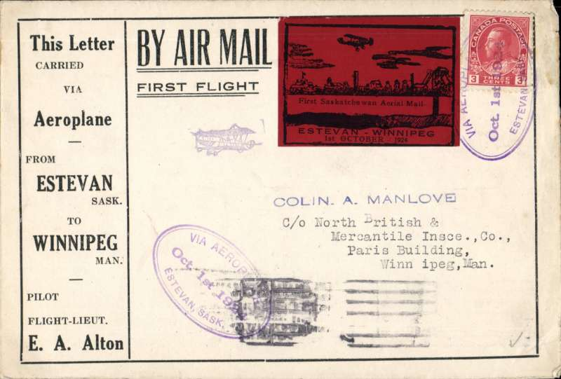 (Canada) F/F Estevan to Winnipeg, b/s, printed souvenir cover advertising the region around Estevan, franked 3c tied three line double-oval flight cachet, special black/red $1.00 stamp. The pilot, EA Alton crashed his plane, en route, at Bienfait. Attractive early item.