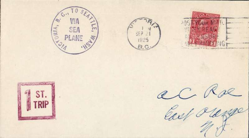 (Canada) Victoria to Seattle, plain cover franked Canada 3c canc Victoria cds, black circular 'Victoria to Seattle/Via Sea/Plane flight cachet, red framed '1st/Trip' hs.