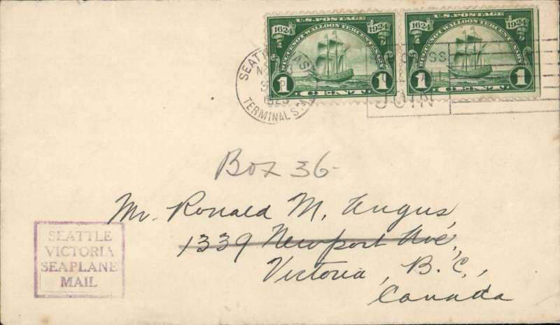 (Canada) Pioneer seaplane service, Seattle to Victoria, plain cover franked 2c at Seattle, violet squared'Seattle/Victria/Seaplane/Mail' cachet.