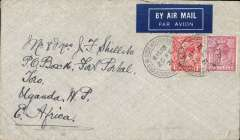 (GB External) Commercial airmail carried on the first flight of the Imperial Airways Africa south bound service AS1, London to Kampala, Uganda bs 9/3, and on to uncommon destination Fort Portal 12/3, plain cover, correctly rated 7d and posted on the first day of the new postage rate combining the air fee and ordinary postage