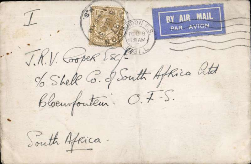 (Scarce and Unusual Routings) UK To South Africa, LONDON TO BLOEMFONTEIN by Imperial Airways Africa southbound special Christmas service #41  leaving Croydon 9/12 arriving Johannesburg 21/12 b/s. RATED 1/-. This service was extended experimentally to Cape Town in order to position and test aircraft over the new southern part of the route in preparation for the opening of the regular service, which commenced in January 1932. Also the first southbound Africa service by de Havilland DH66 G-EBMX 'City of Delhi'.