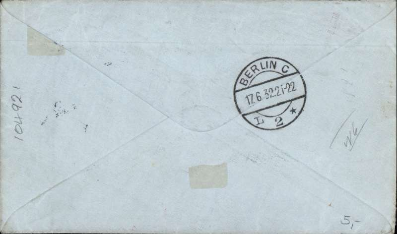(Scarce and Unusual Routing) Commercial airmail,  South Africa to Germany, PRETORIA TO HAMBURG, by Imperial Airways Africa northbound service #66 which left 9 June and arrived Athens 16 June, on by DLH air to Berlin 17 June (b/s), plain cover franked 1/3 d, ms 'Air Post', nice strike red 'Mit Luftpost Befordert./Luftposampt/Berlin C2' receiver. The RATE was 1/-, so over franked by 3d.
