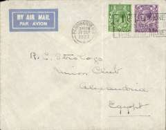 (GB External) London to Alexandria, commercial airmail flown by IAW AS83 which left 28 September and arrived Alexandria 1 October (b/s).  Correctly franked 3 ½ d  RATE for combined air fee and ordinary postage. Non invasive vertical crease, see scan.