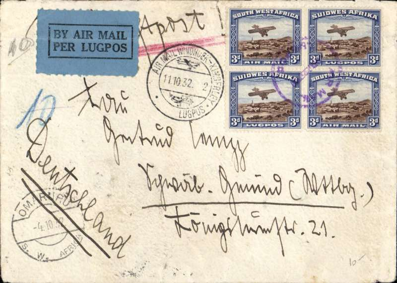 (Scarce and Unusual Routings) South West Africa To Germany, OMARU TO GMUND. Posted Omaru 4/10 cds, then carried by South West African Airways  (SWAA) via Windhoek ds 6/10 to Kimberley ds 11/10 where it transferred to the Imperial Airways Africa northbound service AN84 which left Kimberley 12/10 and arrived London 23/10, via Juba 17/10 on C.Delhi, Khartoum on C.Alexandria flying boat, Alexandria on C.Glasg, and Brindisi on Sylvanus flying boat, and  OAT to Berlin  24/10, delivered 25 Gmund ds 25/. Plain cover RATED 1/-. SWAA was the first commercial air service in South West Africa. It operated from 1930 until 1935, when it was taken over by South African Airways (SAA).