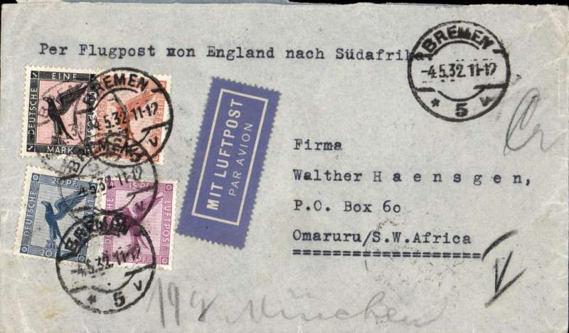 (Scarce and Unusual Routings) Germany To South West Africa. BREMEN TO OMARURU, postmarked Bremen 4/5, then by Imperial Airways Africa southbound AS63 leaving Alexandria 14/5 (arrival ds 10/5), arriving Khartoum 16/5 on C.Arundel, Juba 18/5 on C. Khartoum, Kisumu 19/5 on C.Basra, Mbeya 20/5 on C.Cp.Town,and Kimberley 22/5. Transferred to South-West African Airways from Kimberley to Windhoek ds 23/5, and delivered Omaruru ds 25/5. Airmail etiquette cover, ms 19g, RATED DM1.85.