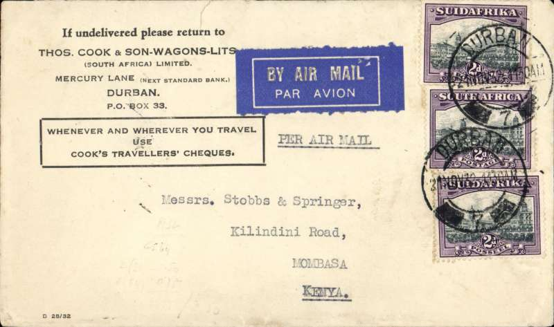 (Scarce and Unusual Routings) South Africa To Kenya, DURBAN TO MOMBASA, Union Airways of South Africa from Durban 21/11 cds to Johannesburg, then transferred to Imperial Airways Africa Northbound service AN90 C.Karachi which left Johannesburg 23/11 arriving Nairobi 27/11. Transferred to Wilson Airways arriving Mombasa bs 28/11. Scarce Thomas Cook & Son-Wagons-Lits cover, RATED 6d.