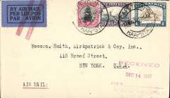(Interruptions and Accidents) Interrupted flight, South Africa To USA, CAPE TOWN TO NEW YORK by Imperial Airways Africa Northbound service AN90 which left CapeTown 23/11 on C.Karachi arriving Croydon 4/12, then by sea to New York, 14/12 private dated receiver. Plain cover, airmail etiquette annulled by red double bar Jusqu'a applied in London, RATED 1/3. The City of Stonehaven flying boat, having departed Juba to schedule on 28/11 should have arrived at Khartoum the same day. However, she made an unscheduled overnight stop at Kosti (reason unknown) and did not reach Khartoum until the following morning. Here the service was taken over by the AW Argosy City of Arundel, arriving at Wadi Halfa on 30/11 and on to Cairo 30/11. Thereafter Scipio continued the service to schedule.