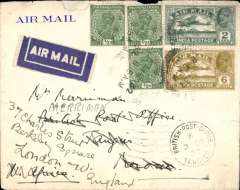 (Scarce and Unusual Routings) Airmail India to Morocco, KARACHI to TANGIER 2/12, carried on IMPERIAL AIRWAYS WESTBOUND service IW 190 which left Karachi on Hadrian 23/11 cds, Galilee 27/11 on Sylvanus, arriving Brindisi one day late on 28/11. Then by train to Marseille bs 30/11 where  it was transferred to Air Orient and flown to Tangier, bs 'BPO/Tangier/2 DEc 32'. Airmail etiquette cover with embossed green logo on flap, and unidentified violet  circular 'E-**U/8 Dec 1932/1' hs verso. Franked 1/2 annas, some rough top edge opening see scan. An interesting cover with good routing.
