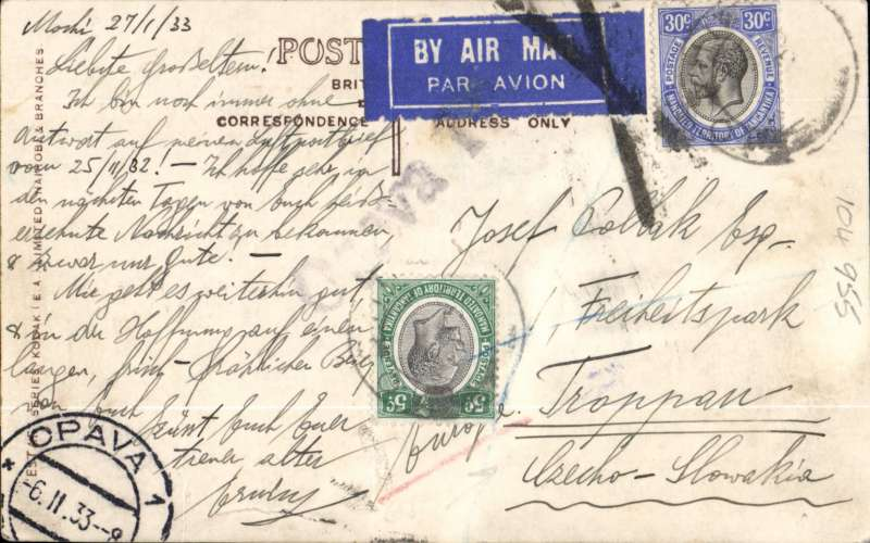 (Scarce and Unusual Routings) Tanganyika to Czechoslovakia. MOSHI to OPAVA, 6/2 arrival ds on front, carried on IMPERIAL AIRWAYS AFRICA northbound service AN 99 which departed Moshi 29/1 on 'Helena', arriving Brindisi 3/2 on 'Scipio' where airmail etiquette was cancelled with a large Brindisi black cross Jusqu'a, and on by surface to destination. B&W PPC of West African native, FRANKED 35c for air rate. Horizontal crease across picture but not visible from front.
