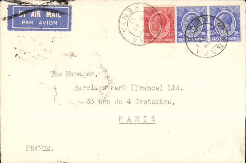 (Scarce and Unusual Routings) F/F CAIRO-ALEXANDRIA LINK, Kenya to France. MOMBASA to PARIS by Imperial Airways AFRICAN service AN 101 which left  Nairobi 11/2 on 'C.Baghdad', to Cairo and Alexandria on 'C.Glasgow', arriving Brindisi 17/2 on 'Sylvanus'.  Carriage by air was cancelled with  Brindisi black cross Jusqu'a and on by train to Paris. This service was the first in which the Cairo-Alexandria link was flown,  Wingent p38.