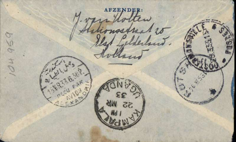 (Interruptions and Accidents) Netherlands to Belgian Congo via London, ELST GELDERLUND to COSTERMANSVILLE,  Amsterdam 9/3 to London, transferred to Imperial Airways AFRICAN southbound service AS107 which departed Croydon 15/3 on 'Horatius', reached Alexandria 18/3 cds on 'Sylvanus', arriving Kampala 22/3 cds on C.Delhi'.  On 500km by surface via Rutshuru 26/3 transit cds to Costermansville 28/3 arrival cds., delivered 29 March (b/s). Airmail cover, 3/4 cm trim lh edge, FRANKED 27 ½ cts for 12 ½ UPU and 15c air fee.  This service departed Brindisi ONE DAY LATE: 18th instead of 17th, due to the late arrival of the train from Paris which arrived Modane 95 minutes late, thus missing the connection with the train to Brindisi. Thus lost time was made up en route to Alexandria and the schedule then maintained, Wingent  pers. comm. A delayed cover, uncommon origin/destination, great routing, ex Proud. One to catch the judge's eye!.