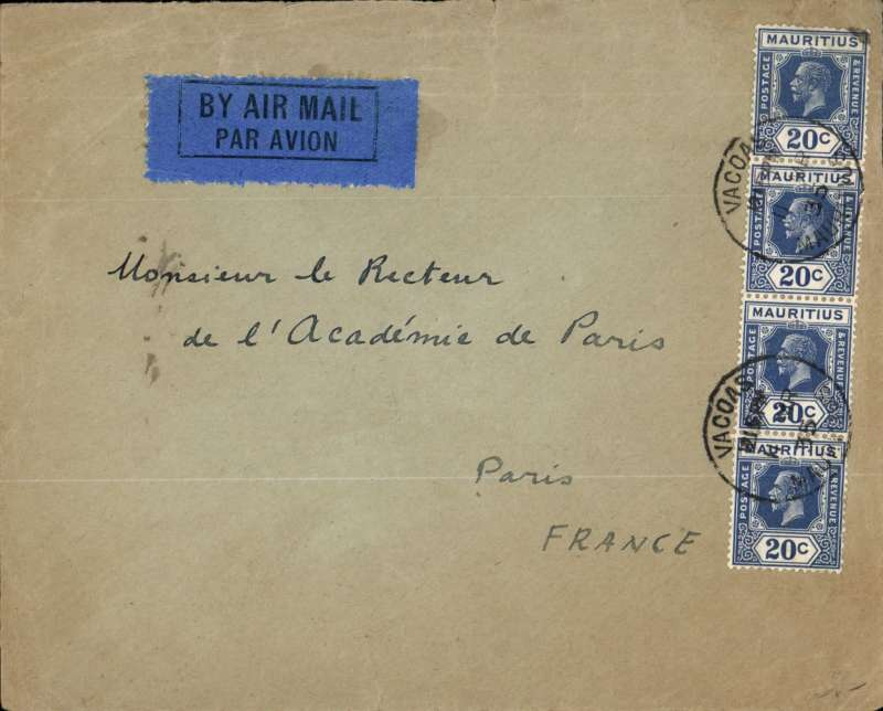 (Scarce/Unusual Routing) MAURITIUS to FRANCE, VACOAS to PARIS bs 28/3. airmail etiquette cover correctly rated 80c for the '80c' rate to Europe via South Africa canc Vacoas cds. Sailed 11/3 on the KPM steamship arriving Durban 19/3. On to Johannesburg by train where it was transferred on 20/3 to the IMPERIAL AIRWAYS Africa northbound service AN222 16 for onward carriage on Artemis to Nairobi, Hanno to Alexandria and Scipio to Paris, arriving 28/3. KPM was a Dutch shipping company operating in the Netherlands East Indies, and African ports such as Durban, East London, Port Elizabeth, Mossel Bay, Cape Town, Zanzibar, Mombasa, and the Indian Ocean ports of Rיunion and Mauritius and Mahי. Super item.