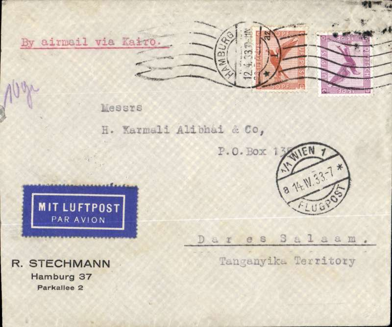 (Scarce and Unusual Routings) Germany to Tanganyika, HAMBURG TO DAR ES SALAAM bs 20/4 via Vienna bs 13/4, carried by Lufthansa to Athens where transferred to IMPERIAL AIRWAYS AFRICA service AS111 arriving Alexandria bs 15/4 on 'Scipio', and Nairobi 19/4 on 'Hadrian' where transferred to Wilson Airways arriving Dar es Salaam bs 20/4.Commercial corner etiquette cover typed 'By Airmail via Kairo' , ms '10g', FRANKED 65pf UPU rate plus 40pf air fee. First southbound African service by 'Amalthea', and the first to be operated by an AW XV from Kisumu, ref Wingent p40. Good routing, fine transit date stamps, ex Proud.