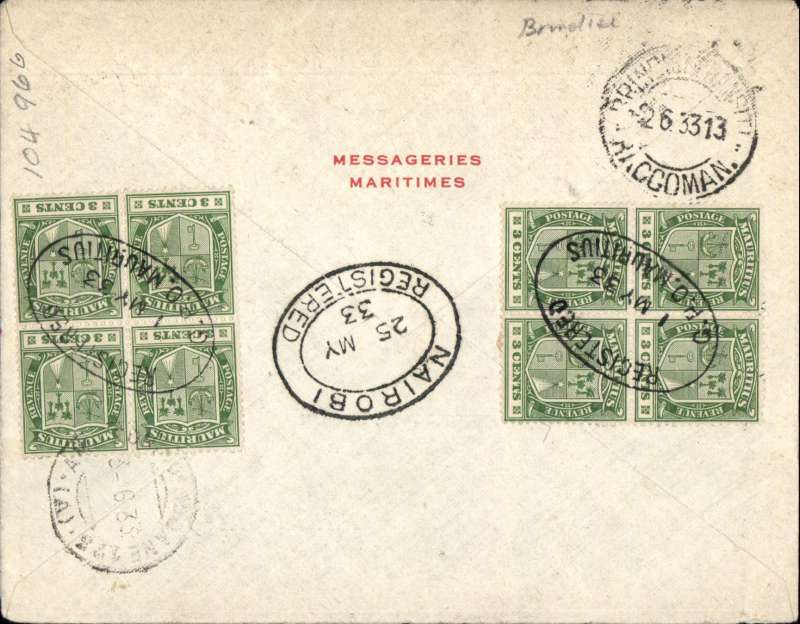 (Scarce and Unusual Routings) MAURITIUS to FRANCE, bs Paris 3/6, via Nairobi bs 25/5 and Brindisi bs TPO 2/3. Registered label Messageries Maritimes cover franked 79c canc fine strikes 'Registered/1 MY 33/GPO Mauritius' oval ds, blue/black airmail etiquette annulled at Brindisi, fine red 'Bernardin De St Pierre' hs. Sailed from Mauritius on the Messageries Maritimes 'Bernardin-De-Saint-Pierre', arriving MOMBASA 24/5, then by Wilson AW (or ?train) to Nairobi 25/5, where transferred to IMPERIAL AIRWAYS Africa northbound service AN116 for carriage on Andromeda to Entebbe, on Horsa to Cairo, and on Sylvanus to Brindisi. An original sepia PPC of 'Bernadine-De-Saint-Peirre' is included.  A superb exhibit item.