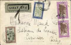 (Madagascar) High rated airmail Madagascar to France, TANANARIVE to LIGINIAC. Posted Tananarive 15/5 cds then by postal van and river barge to the port of Majunga bs 18/5 cds, then by the Messageries Maritimes paquebot 'Chantilly' to Dar es Salaam bs 23/5, then by Wilson Airways to Nairobi where transferred to Imperial Airways Africa northbound service AN116 plane  'Horsa' which left Nairobi 28/52 arriving Brindisi 2/6 on 'Sylvanus'. At Brindisi carriage by air was cancelled with  Brindisi violet framed 'By Air to/Brindisi' hs, also etiquette cancelled by a Brindisi black cross Jusqu'a. On by train to Paris  and delivered to Liginiac bs 5/6. Plain cover, red/black 'PTT Madagascar Serie E no 131/Par Avion' label graded rare by Mair,  RATED F12.50 for 50c domestic and 3x 4F/5g air surtax.  Super item, a scarce and complex itinerary, and  detailed route marks. Ex the Ted Proud collection.