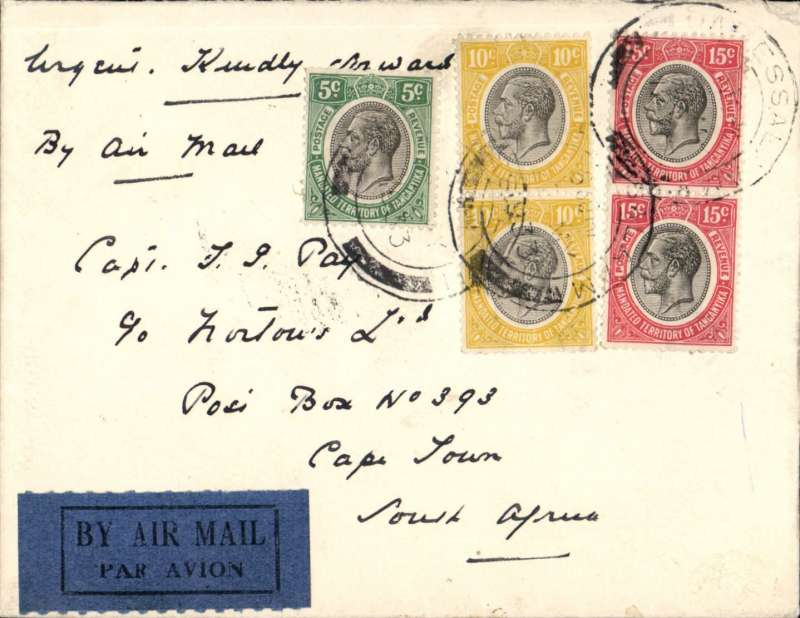 (Tanganyika) Tanganyika to South Africa, DAR ES SALAAM to CAPE TOWN,  400km by road/rail to Dodoma 24/5 transit cds where transferred to Imperial Airways AFRICAN service AS 116 (Artemis) arriving Capetown 27 May (b/s). Union Castle Line cover with red/white/blue embossed logo FRANKED 55c for rate introduced 1.3.1932. Neat, attractive item.
