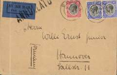 (Tanganyika) Tanganyika to Germany, BUKOBA to HANNOVER,  by Imperial Airways' AFRICAN service AN116 which left Entebbe 28/5 on 'Horsa' , Alexandria 1/6 on 'Sylvanus', arriving Brindisi 2/6 cds, transferred to  DLH Athens-Berlin service. Plain cover, airmail etiquette cancelled by black 'Annullato' hs applied at Brindisi,  FRANKED 75cts.