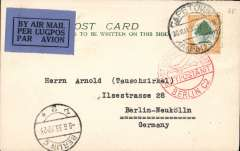 (South Africa) South Africa to Germany, PRETORIA to BERLIN,  By Imperial Airways AFRICA northbound service AN 117  which left 31 May on 'ARTEMIS' arriving Athens 8 June on 'Hadrian', where transferred to DLH Athens-Berlin service arriving Berlin 9/6 arrival cds on front and fine red Berlin C2 a arrival hs. PC FRANKED 6d.