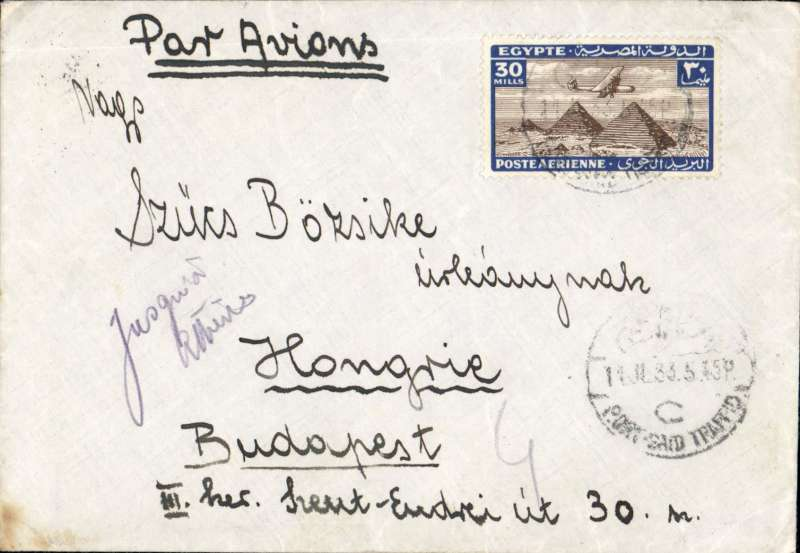 (Scarce and Unusual Routings) Tanganyika to Hungary. PORT SAID to BUDAPEST, carried on IMPERIAL AIRWAYS AFRICA northbound service AN 122 which departed Alexandria 12/11, via Athens 13/11 arriving Brindisi 14/11 and on by surface to destination. Plain cover  FRANKED  30mils for 20mils UPU rate plus 9mils air fee to Greece, 1 mils excess m/s ?Jusquא Athens?.