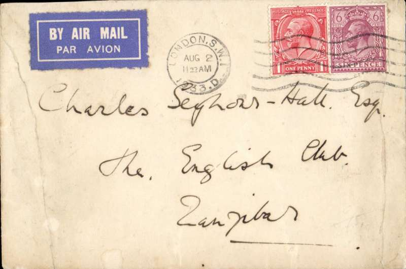 (Scarce and Unusual Routings) London to Zanzibar, bs 9/8, commercial airmail carried on Imperial AW Africa southbound service AS 127, by Horatius to Athens, Satyrus (Flying boat) to Alexandria, Hadrian to Mombasa 8/8, where transferred to Wilson Airways Feeder Service to Zanzibar bs 9/8. Plain cover correctly rated 7d per 1/2oz, Non invasive ironed vertical right and left edge creases,  see magnified scan.
