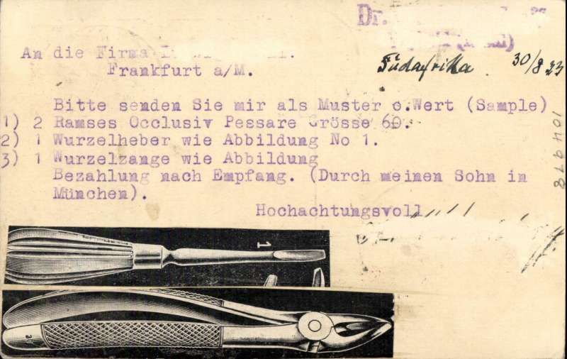(Interruptions and Accidents) South Africa to Germany. By flight leaving 30 August,  Imperial Airways Africa Northbound service AN130 which arrived Athens 7 September. On by Lufthansa, delivered 9 September (firms chop). Franked 6d for air rate. DELAY. Service AN 130 delayed one day at Athens . It was flown by service AN 130, operated by the HP42 Horsa, which departed Khartoum 06.00 on 5 Sept. and arrived Cairo 6th where the service was taken over by the Short Kent Sylvanus which departed Alexandria to schedule on the 7th and should have arrived Brindisi the same day. However, she made an unscheduled overnight stop at Athens (reason unknown) and so did not reach Brindisi until the 8th.