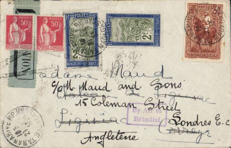 (Madagascar) Madagascar to France, TANANARIVE to LIGINIAC b/s 19/10. Posted Tananarive  21/9 then by postal van and river barge to the port of Majunga, then by the Messageries Maritimes paquebot to Dar es Salaam bs 27/9, then by Wilson Airways to Nairobi where transferred to Imperial Airways Africa northbound service AN 136, departed Juba 15/10 on Hadrian, arrived Bindisi on Scipio 18/10 (bs). At Brindisi carriage by air was cancelled with  Brindisi violet framed 'By Air to/Brindisi' Jusqu'a, also etiquette cancelled by a Brindisi black cross Jusqu'a. On by train to Paris  and delivered to Liginiac  bs 19/10. Plain cover, grey/black 'PTT Madagascar Serie E no 131/Par Avion' label graded rare by Mair,  Franked 5F50.  Super item, a scarce and complex itinerary, and  detailed route marks. Ex the Ted Proud collection.  n Scipio on Scipio 21 September 1933: Madagascar to France by sea to Dar es Salaam  27 September (b/s). By AN136 which left 14 October on Andromeda(missed AN135, 7 October for unknown reasons), which arrived Brinidisi 18 October (b/s). Franked F2.50