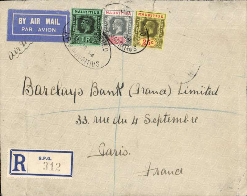 """(Interruptions and Accidents) Mauritius to France, CUREPIPE to PARIS, by sea to Mombasa, via Nairobi 29 January (b/s), then transferred to Imperial Airways Africa northbound service AN152 which left Nairobi 3/3 on Hanno and arriving Brindisi 9/2 on Sylvanus. February (b/s). Service AN 152 departed Cairo on 8/2 having arrived Cairo to schedule at 11.00 on 6 Feb. in the 1-1P42 Hanno. From there it should have been flown to Alexandria the following morning but instead, it was sent by train b/s Turin TPO 10/34 (reason unknown). The Short Kent flying boat Sylvanus should have departed at 11.00 the same day but instead she left at 08.30 on 8 Feb. (one day late). The reasons for the delays are shown as """"miscellaneous"""" on the I.A. movement chart. The service arrived Croydon at 11.45 on 11 Feb. - still one day behind schedule. Ex Proud.  On by surface (delayed at Alexandria). Franked R1.30 for double air rate of R1.10 and 20c registration. DELAY  . Cover was carried by service AN 152 which departed Cairo on 8/2 having arrived Cairo to schedule at 11.00 on 6 Feb. in the 1-1P42 Hanno. From there it should have been flown to Alexandria the following morning but instead, it was sent by train b/s Turin TPO  10/34 (reason unknown). The Short Kent flying boat Sylvanus should have departed at 11.00 the same day but instead she left at 08.30 on 8 Feb. (one day late). The reasons for the delays are shown as """"miscellaneous"""" on the I.A. movement chart. The service arrived Croydon at 11.45 on 11 Feb. - still one day behind schedule. Ex Proud."""