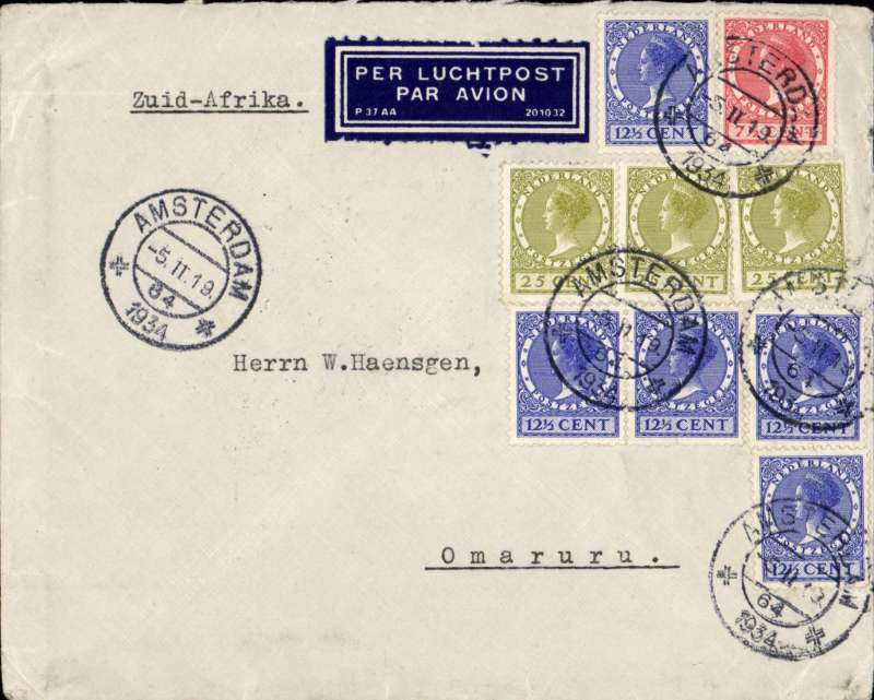 (Scarce and Unusual Routings) Netherlands to South West Africa, AMSTERDAM to OMAURU, by KLM? to Cairo bs 10/2, then by Imperial Airways Africa southbound service AS154 via Khartoum on Hanno to Johannesburg on Amalthea 16/2. Transferred South West Africa Airways arriving Windhoek bs 18/2 and on to Omaruru bs 20/2. Printed commercial cover Franked G1.45.