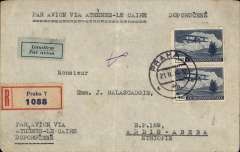 (Scarce and Unusual Routings) Czechoslovakia to Ethiopia, PRAGUE to ADDIS ABABA, bs 8/3,  by air (Lufthansa) to Athens, arriving 23 February, by train to Port Said, by boat to Mogadishu, then by rail to Addis Ababa, bs 8/3. Registered (label) cover correctly franked 8K for K2.50 UPU rate K2.50 registered fee and 3K double air fee. Non invasive ironed vertical fold. Ex Proud.